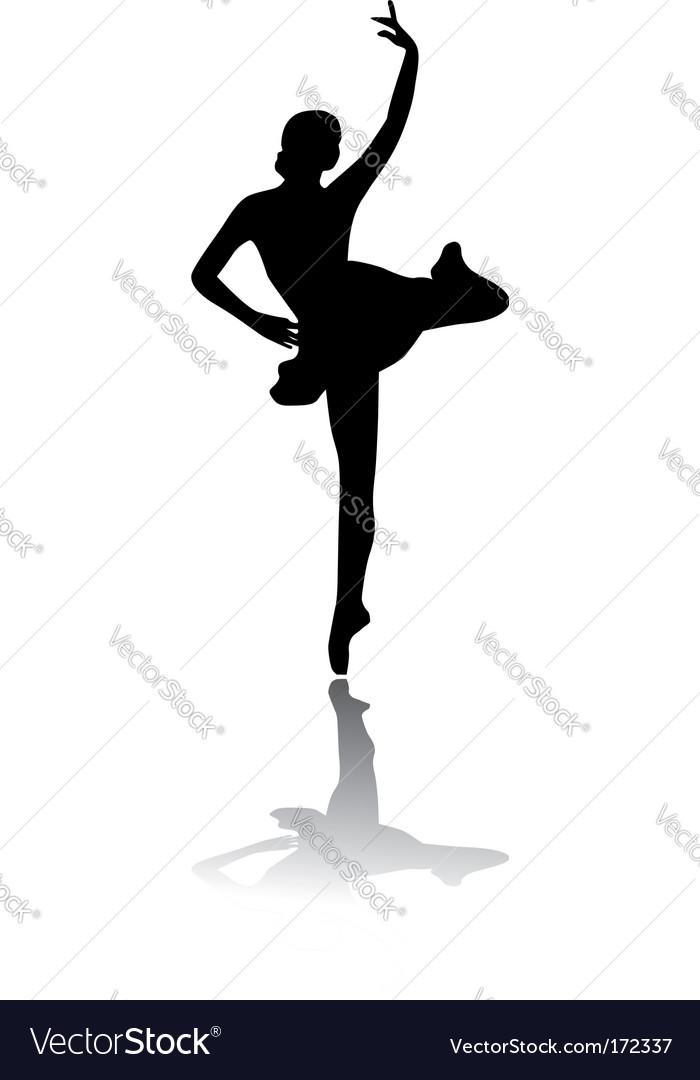 Silhouette of woman ballet dancer vector image