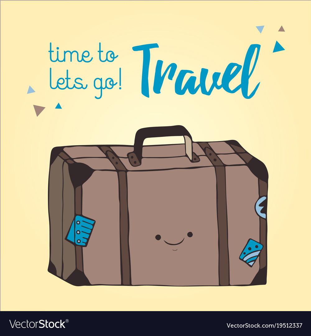 Travel bag hand drawn style retro suitcase