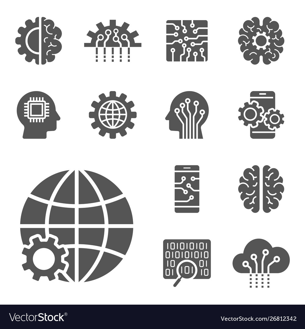 Ai and iot icons set symbols in flat outline