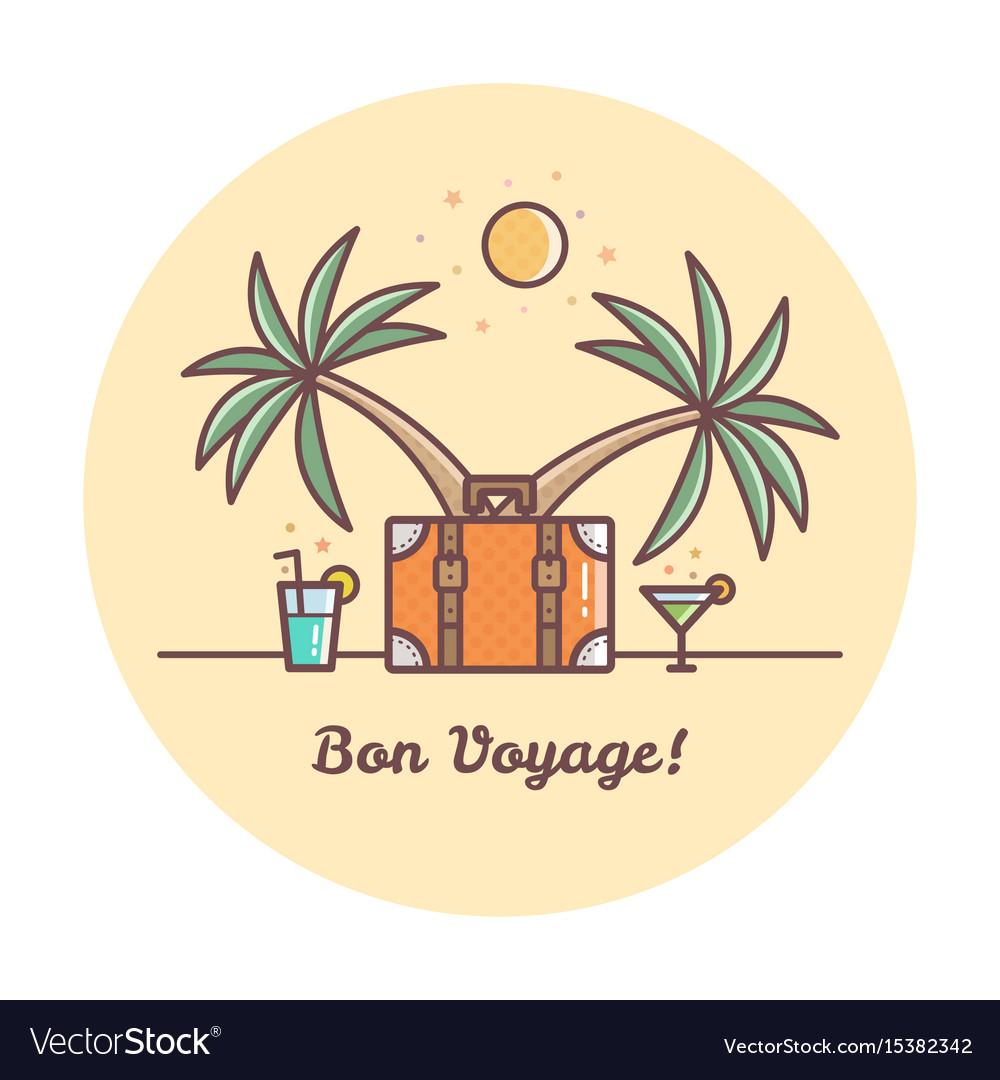 Bon voyage suitcase and palm t...