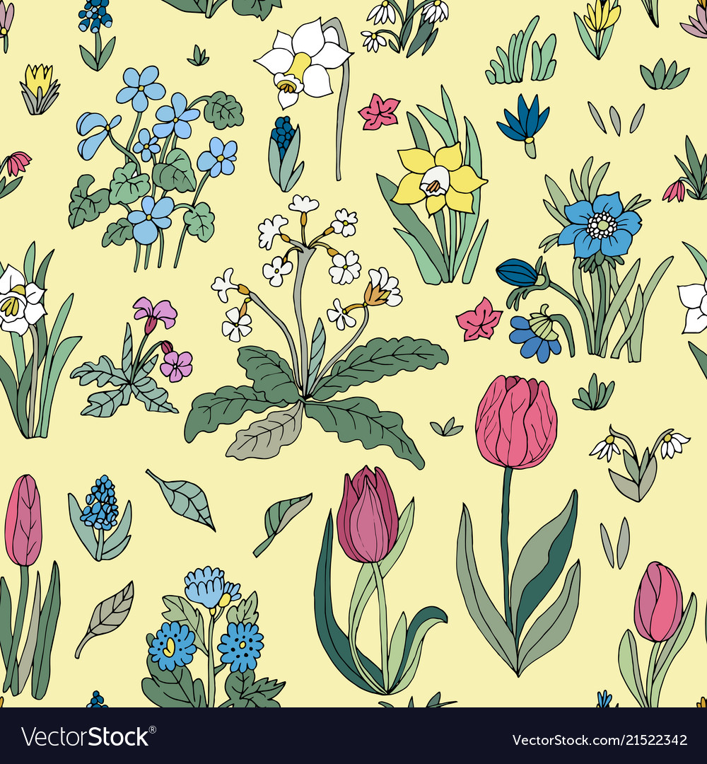 Flowers seamless pattern collection set cute