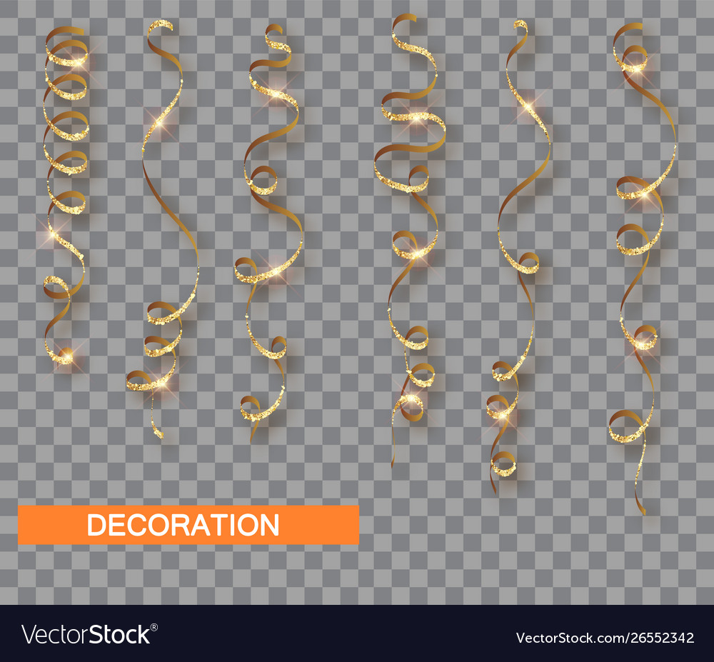 Golden glitter serpentine set isolated with