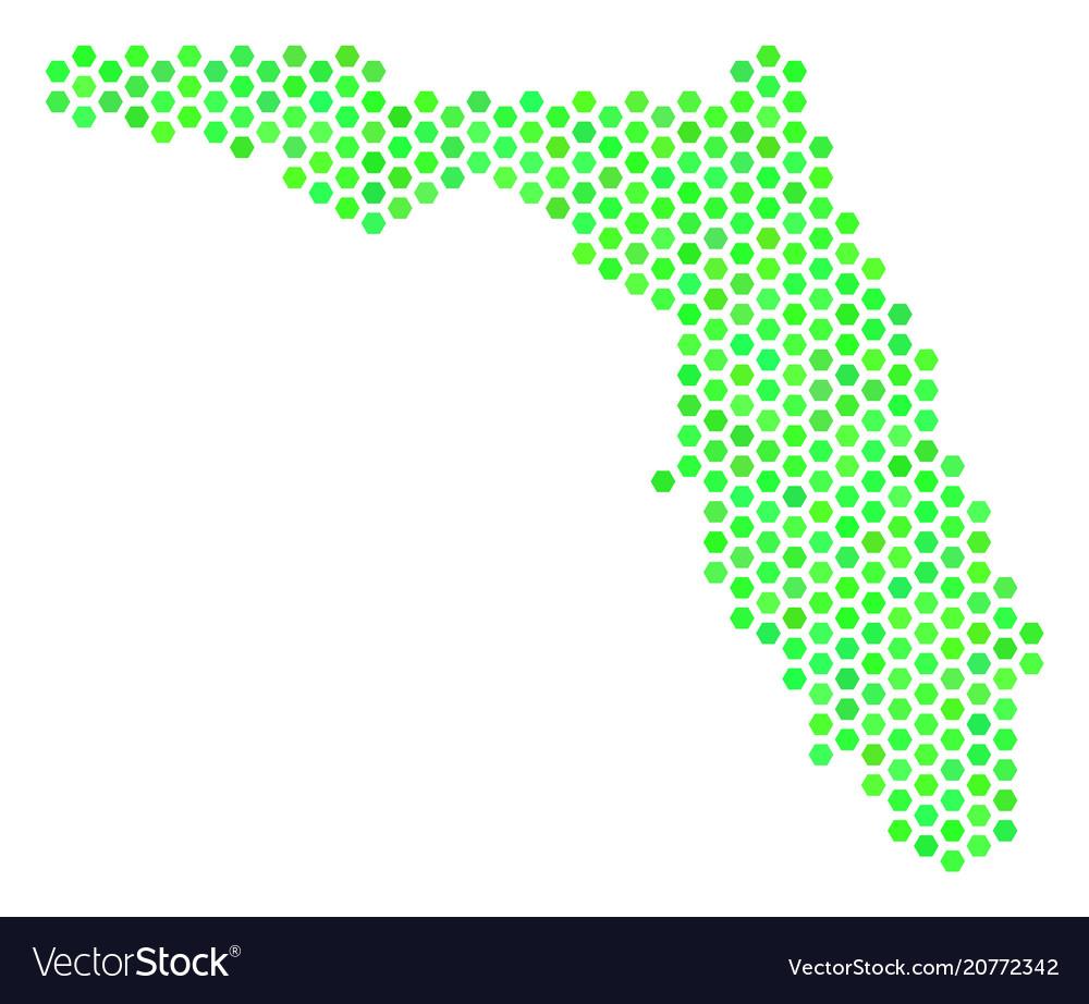 Green hexagon florida map