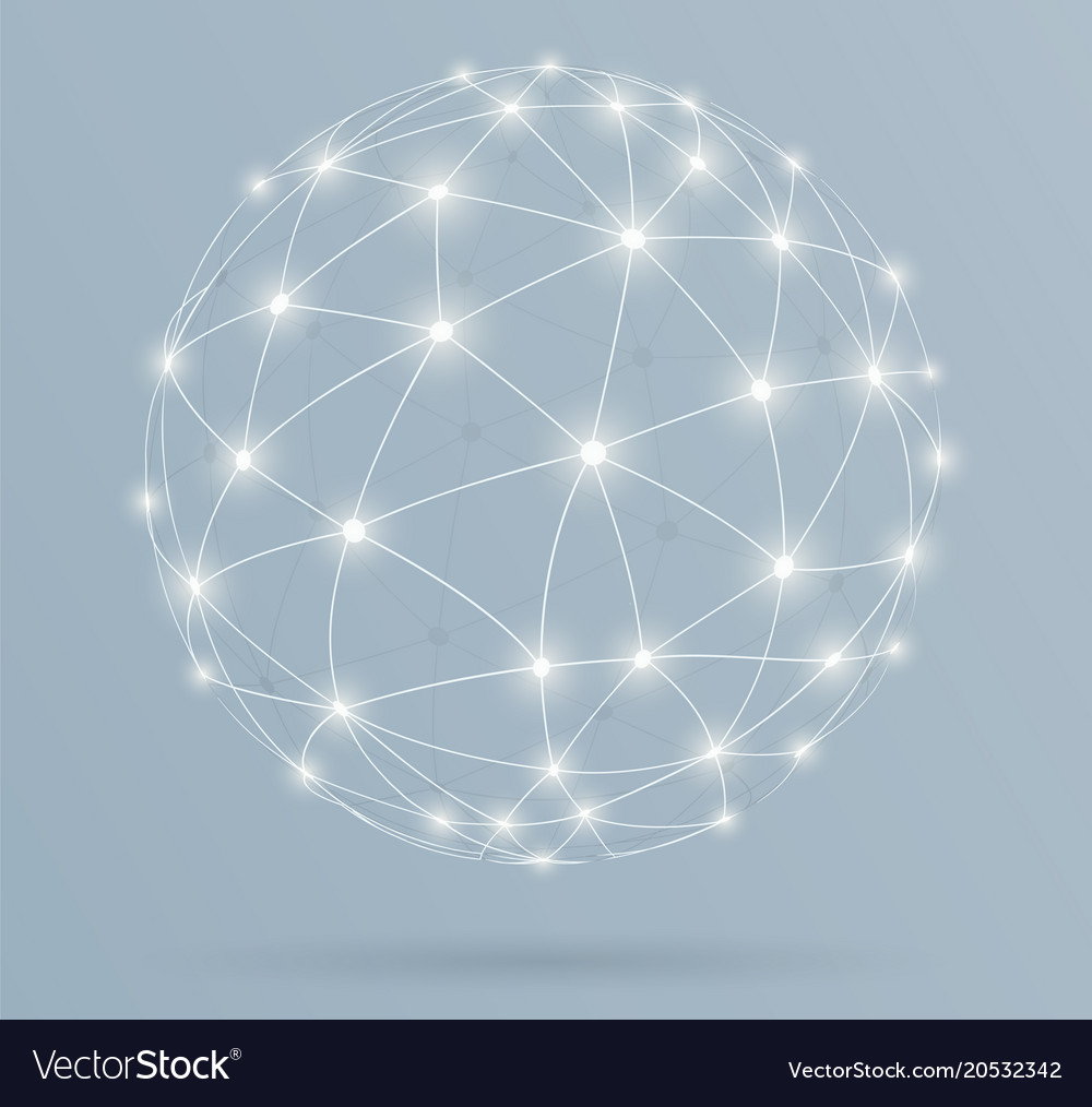 Network global digital connections with glowing