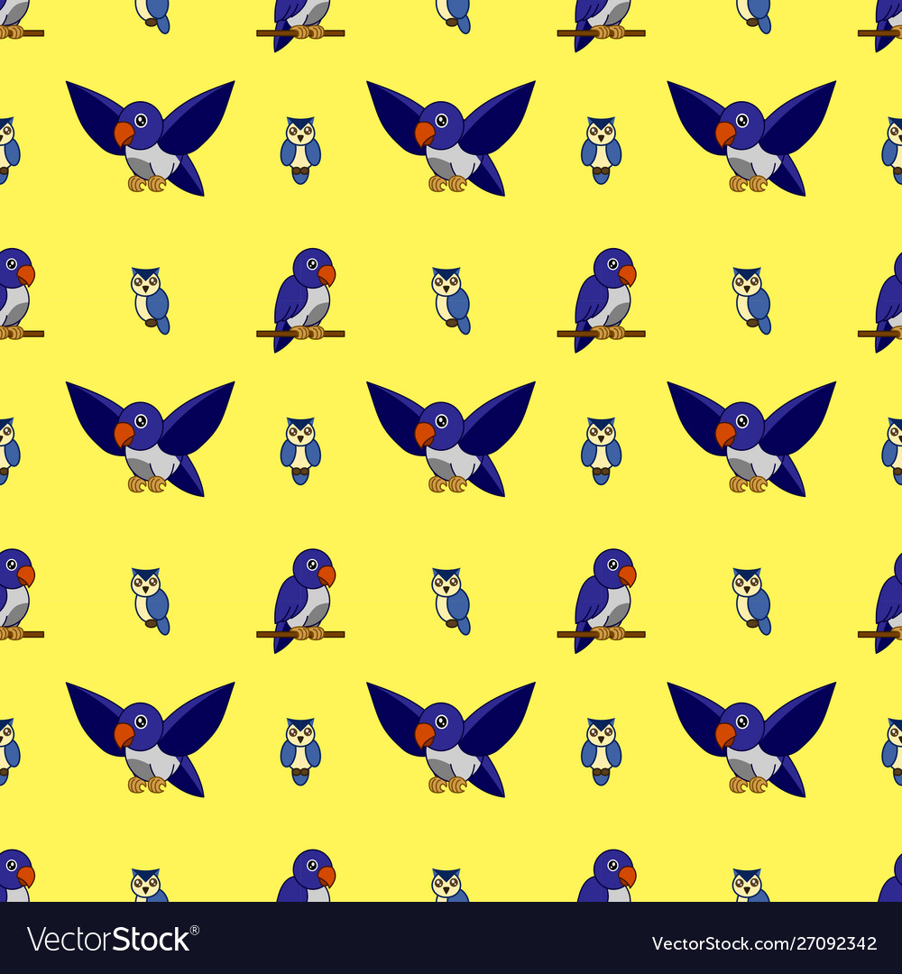 Pattern lovebirds and owls on a yellow background