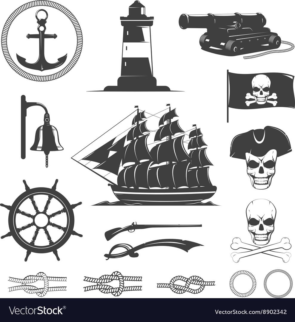 Pirates Decorative Vintage Graphic Icons Set