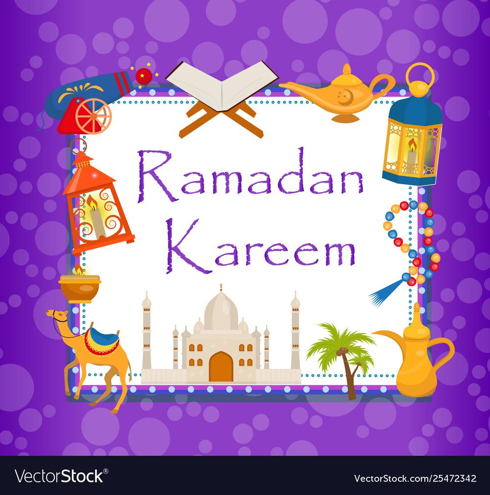 Ramadan kareem greeting card with arabic design