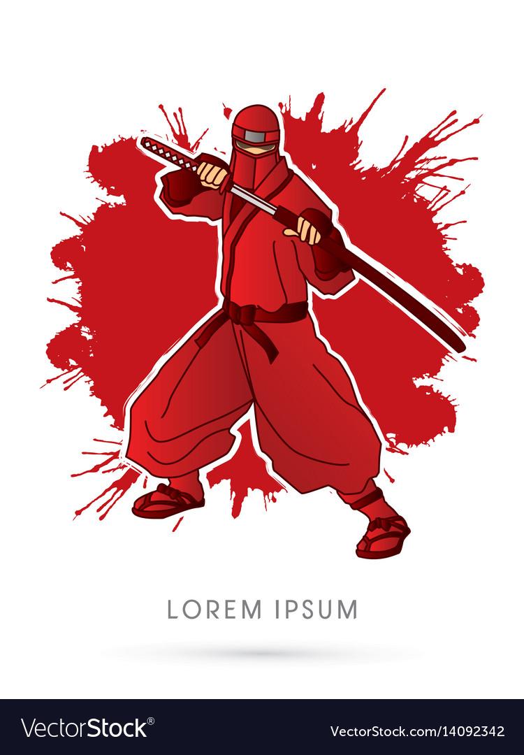 Red ninja and sword