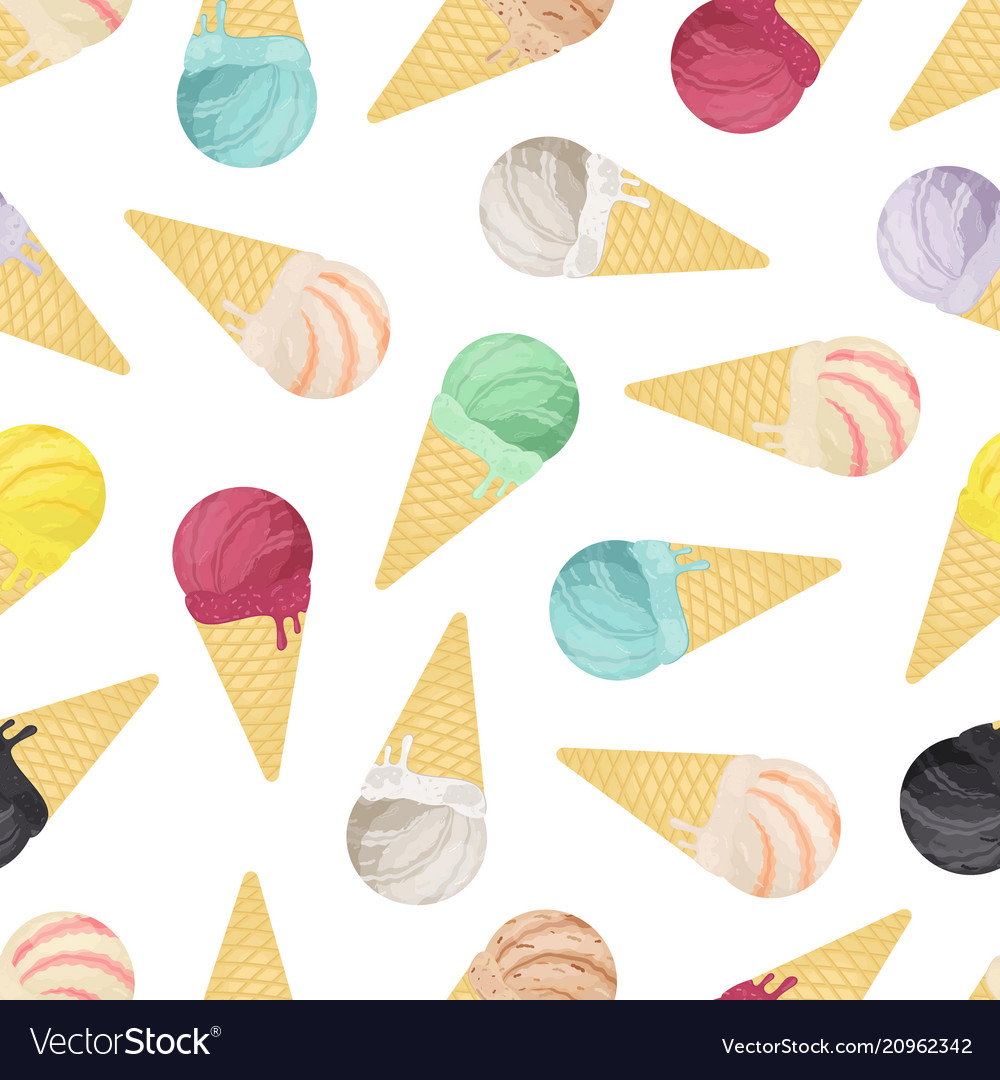 Seamless pattern of ice cream in cones