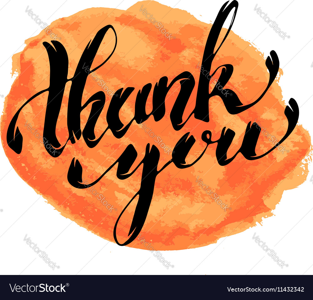 Thank You Hand drawn lettering with watercolor