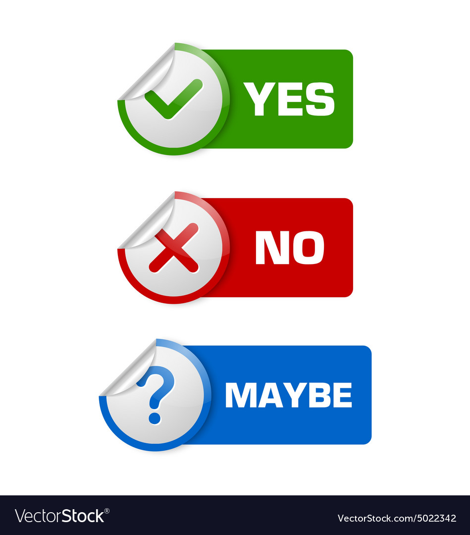 Yes no maybe stickers vector image