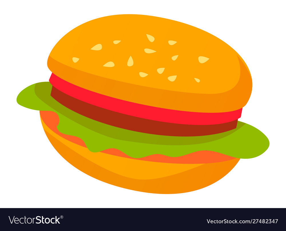 Burger with bun and lettuce meat and greenery