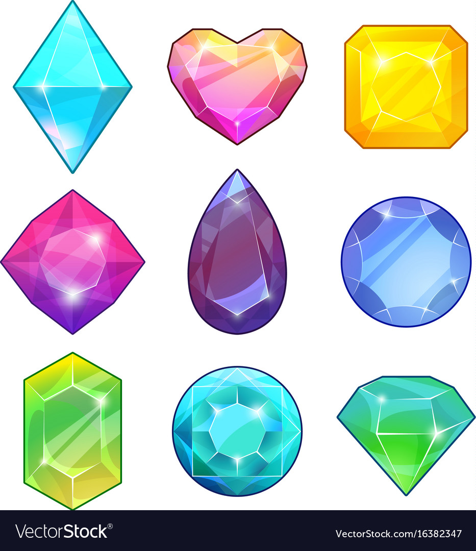 Different gemstones brilliants and diamonds in