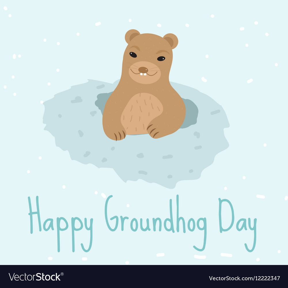 Happy Groundhog Day Greeting card flat style