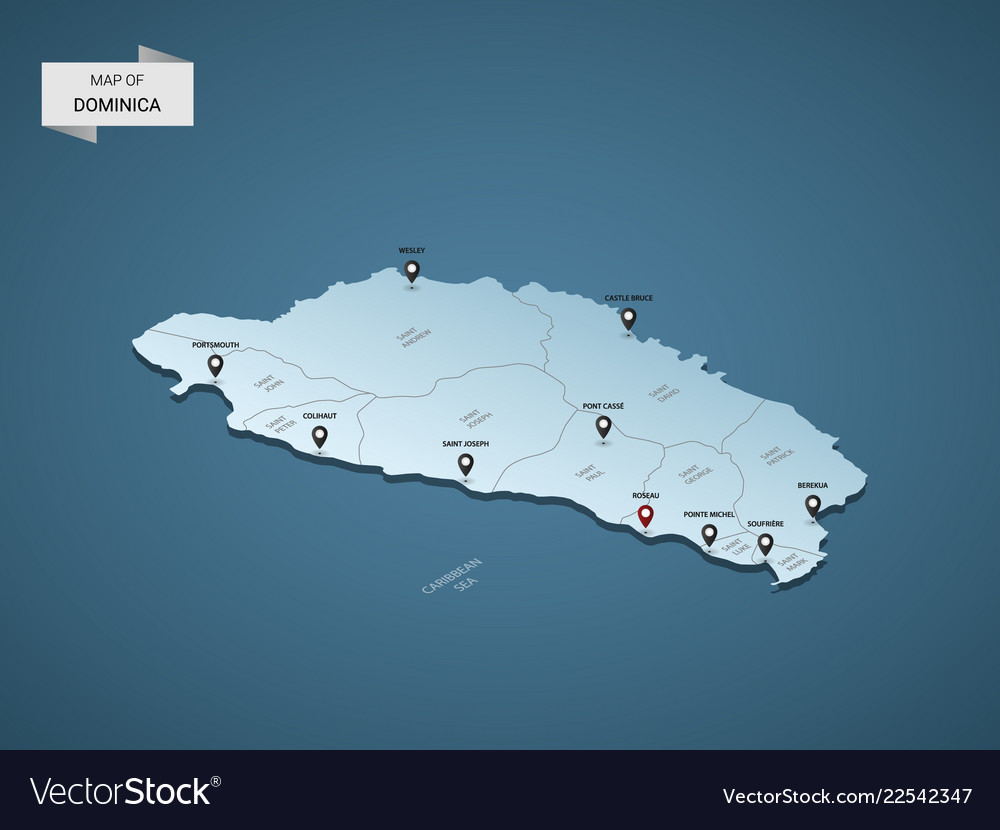 Isometric 3d dominica map concept Royalty Free Vector Image on