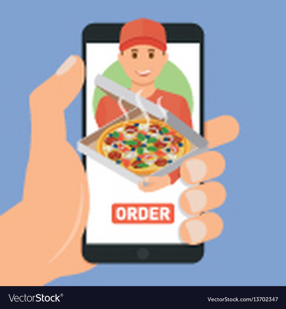 Pizza delivery service e-buy pizza vector image