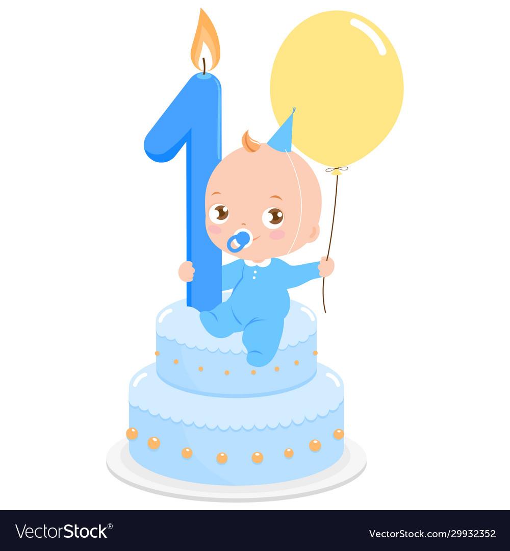 Blue birthday cake and baboy