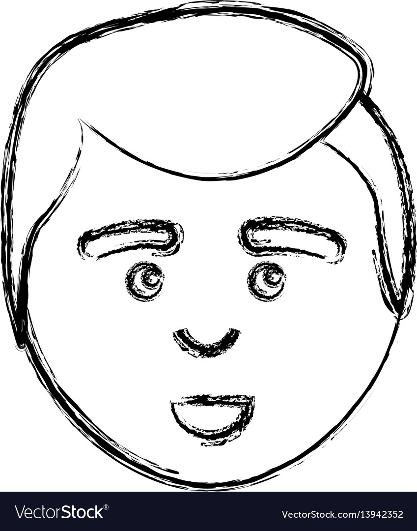 Figure man with facial expression and hairstyle