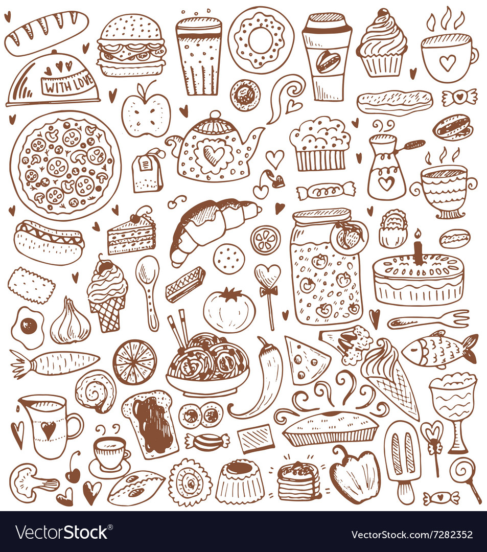 Food sketch elements collection