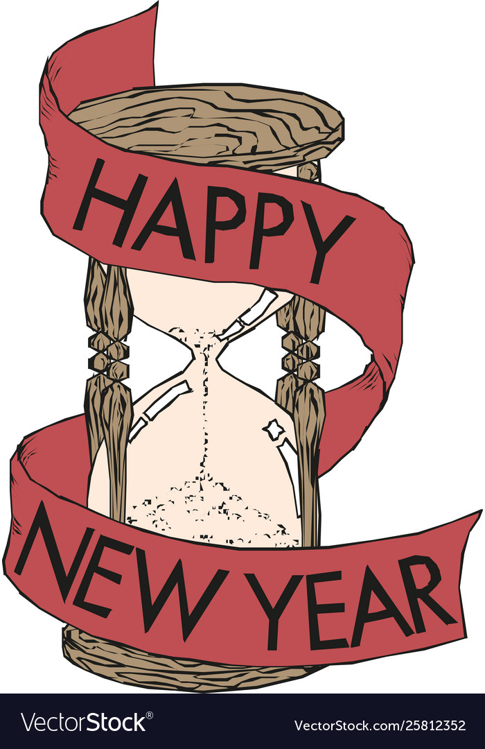 Happy new year hourglass designed