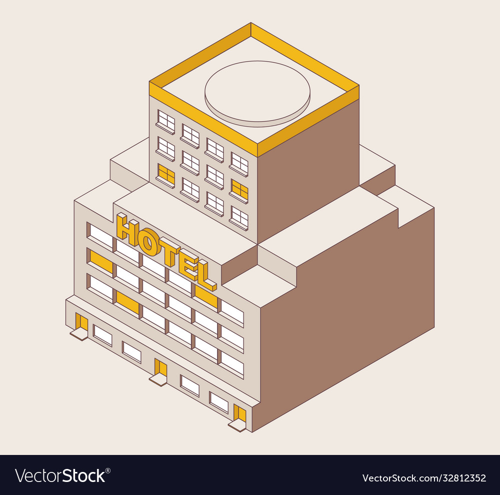 Isometric outline multi-storey hotel yellow color