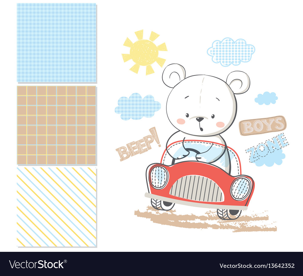Little bear in car surface pattern and 3 seamless