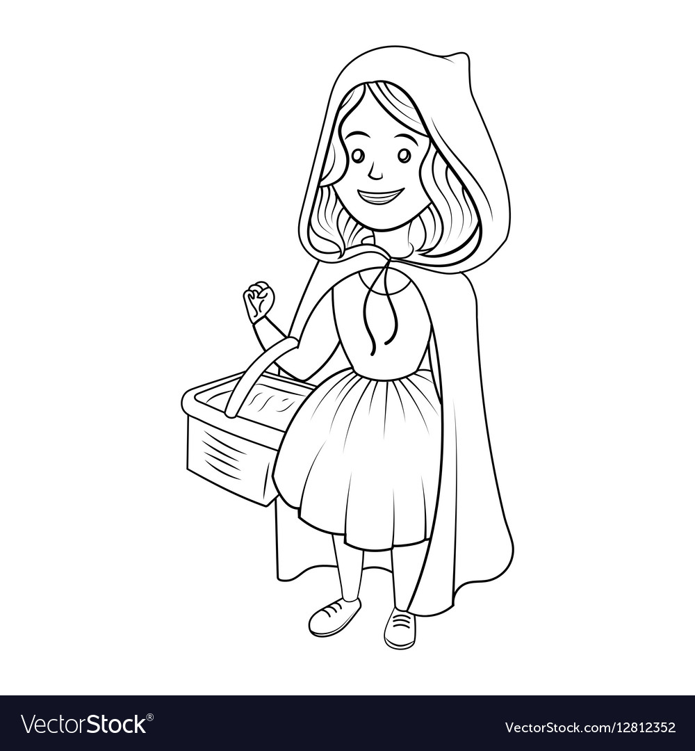 Little Red Riding Hood Coloring Book Royalty Free Vector