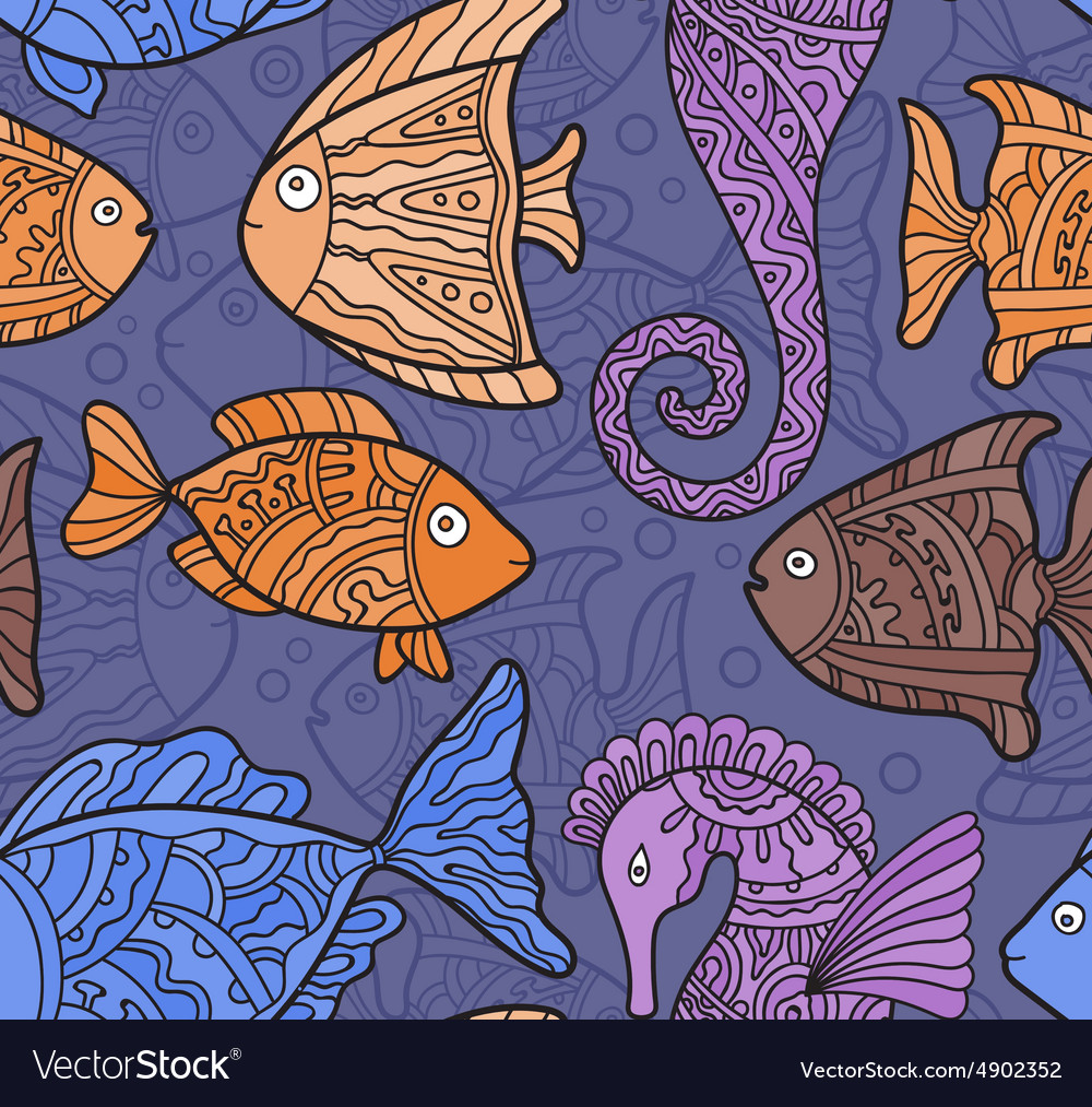 Ornate Sea Seamless Pattern with fishes seahorses