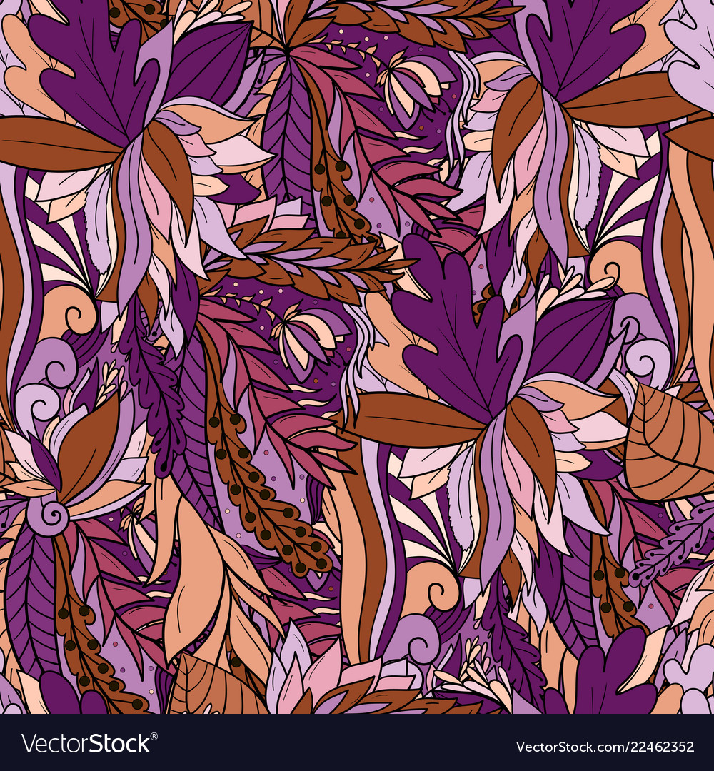 Seamless pattern with abstract leaves and flowers