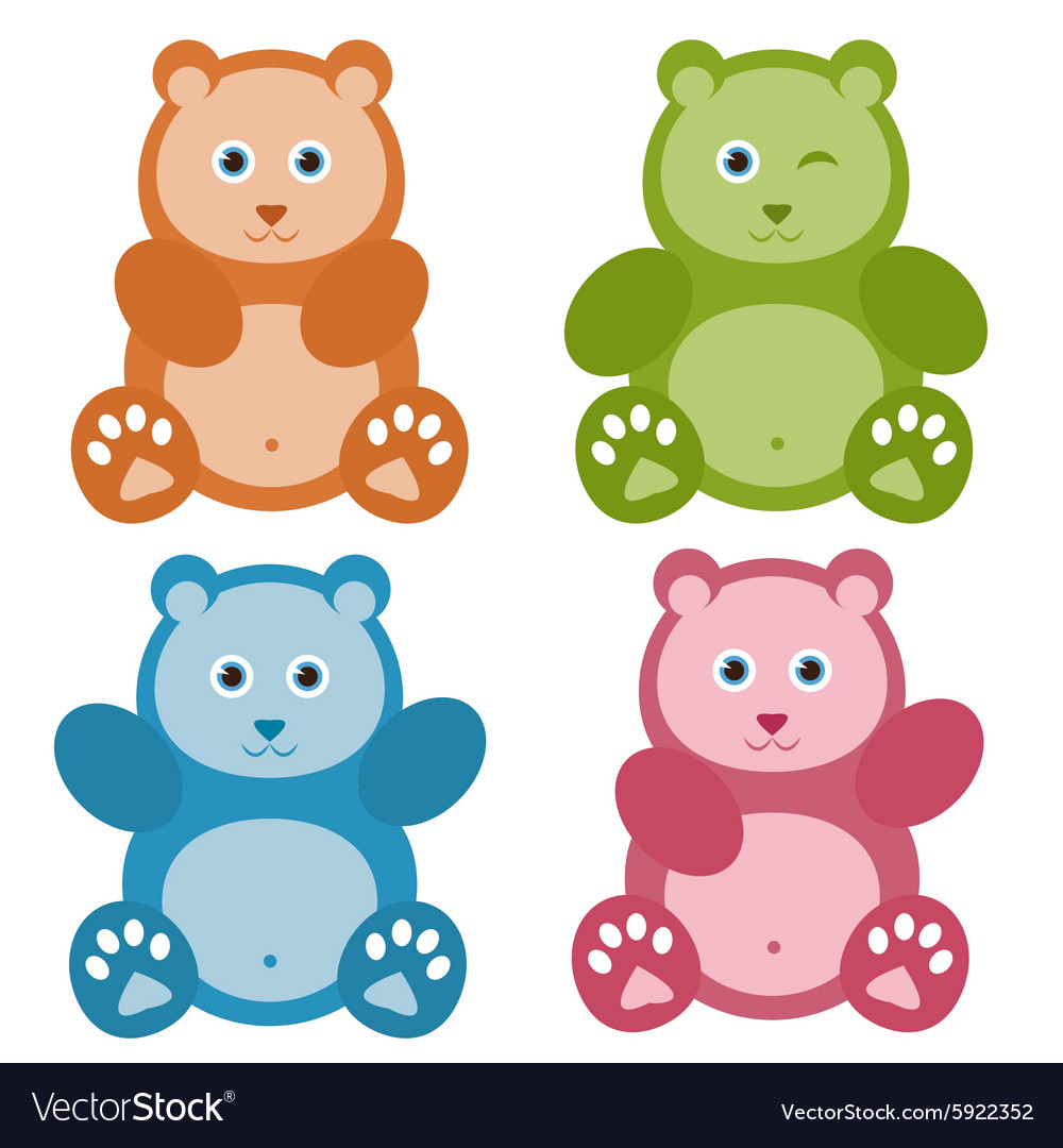 Set of color Teddy bears
