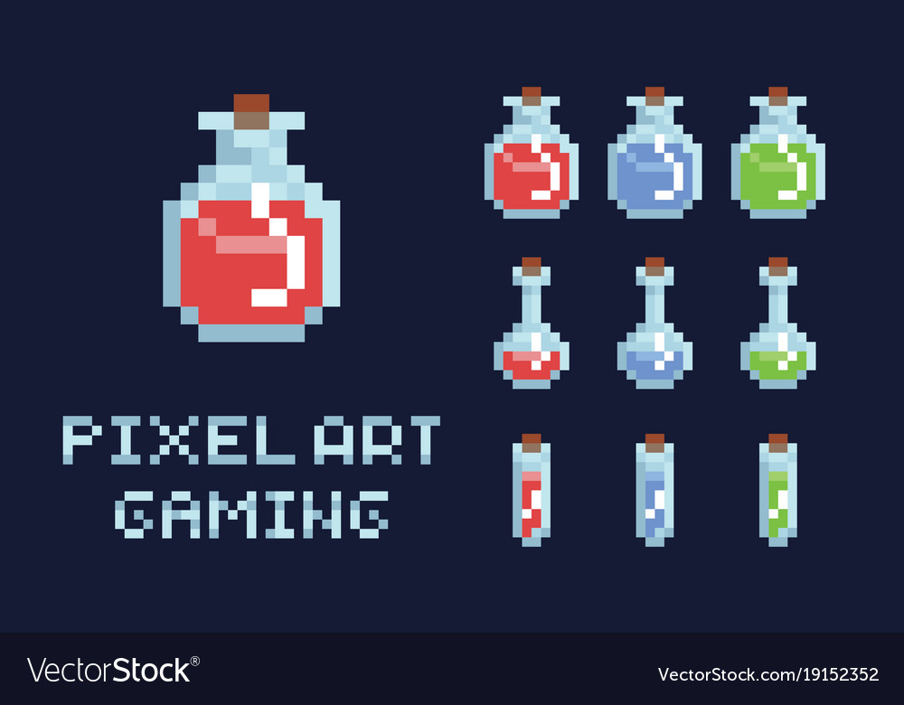 Set of pixel art potion bottles red green and