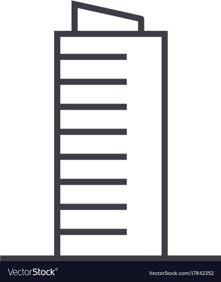 Skyscrapper sign line icon sign