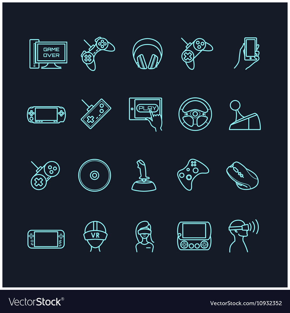 Video games and gadget icons vector image