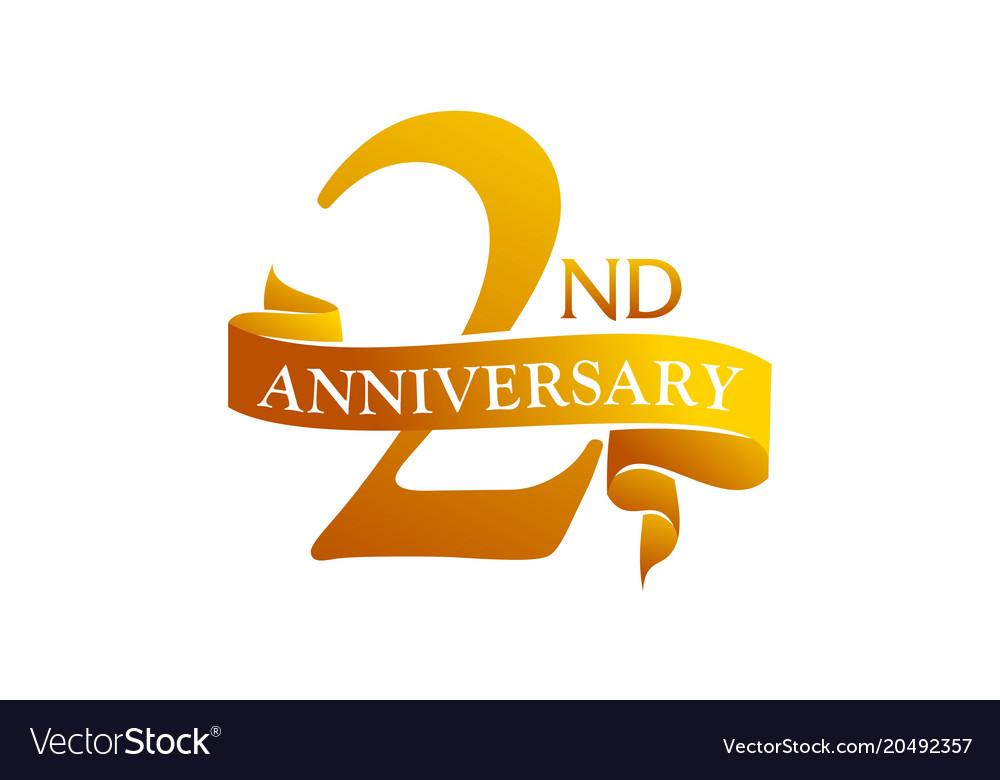 2 year ribbon anniversary royalty free vector image