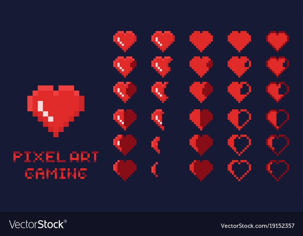 8 bit pixel art gui game design element - heart vector image