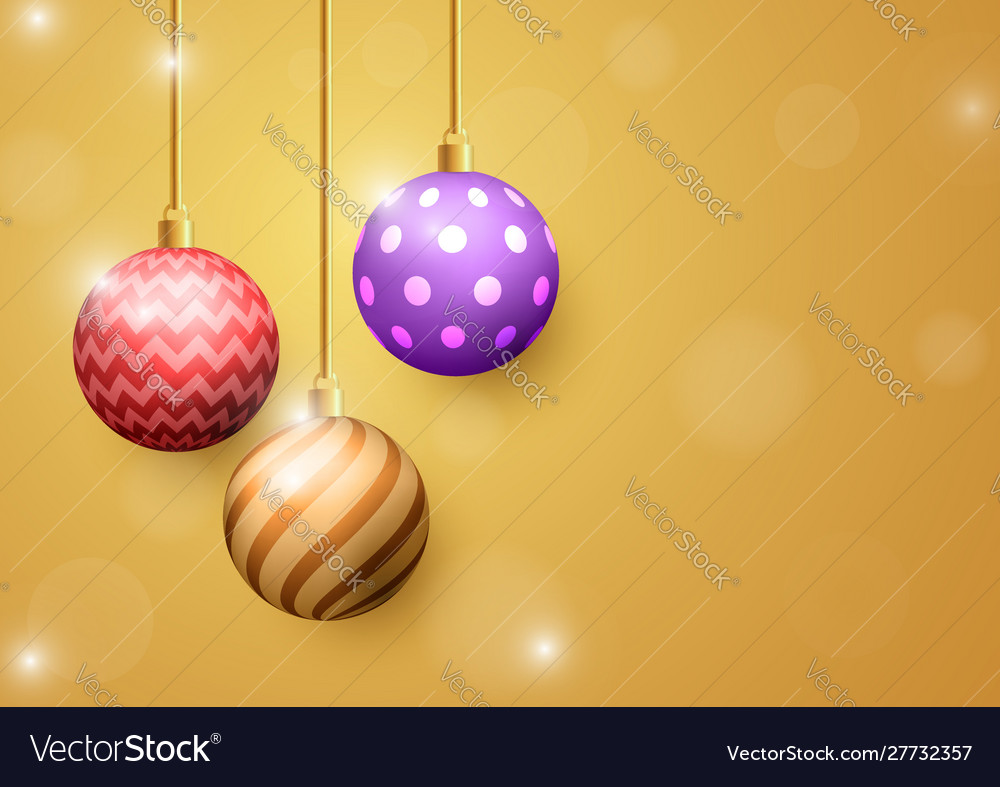 Christmas ball on golden abstract background