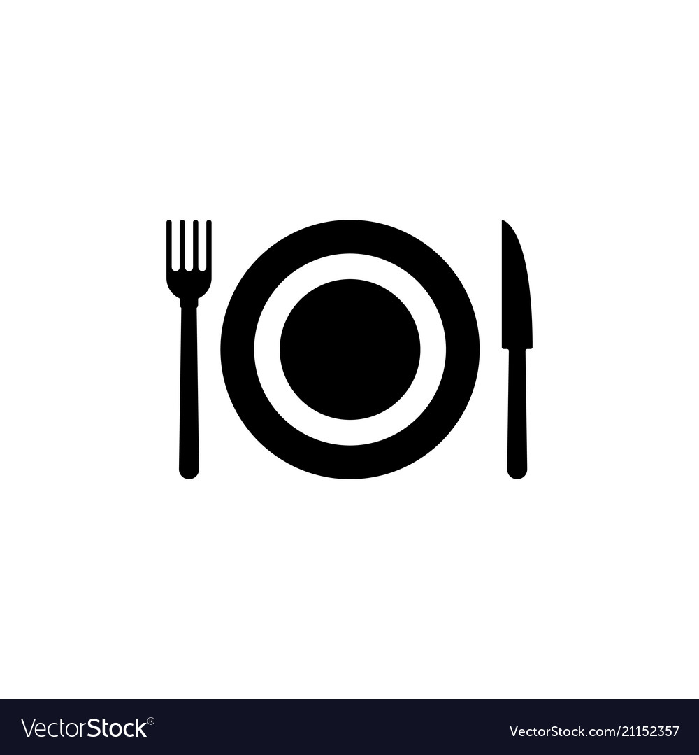 Cutlery plate fork and knife flat icon
