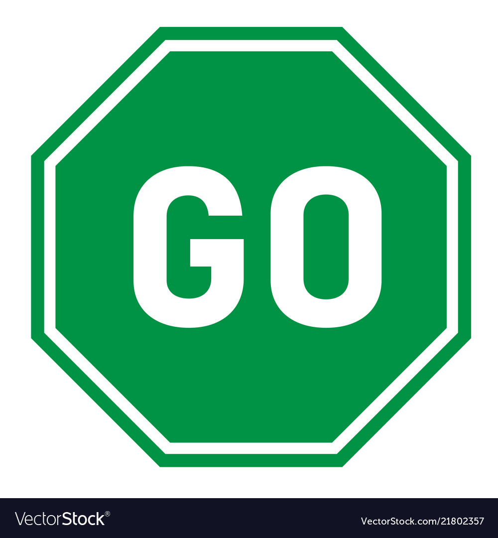 Go sign on white background flat style green go