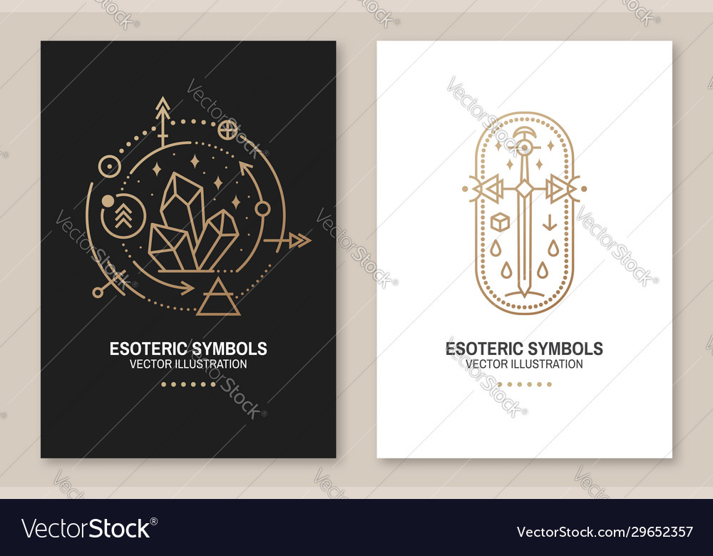 Gold esoteric symbols thin line geometric vector