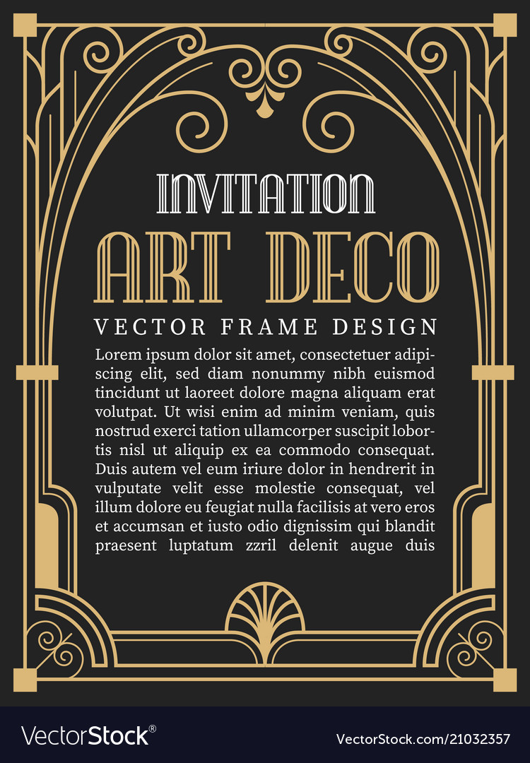Luxury Vintage Frame Art Deco Style Royalty Free Vector