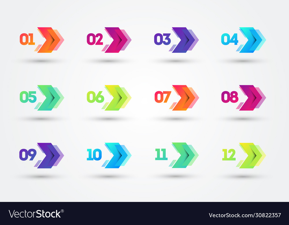 Modern colorful bullet points with number 1 to 12