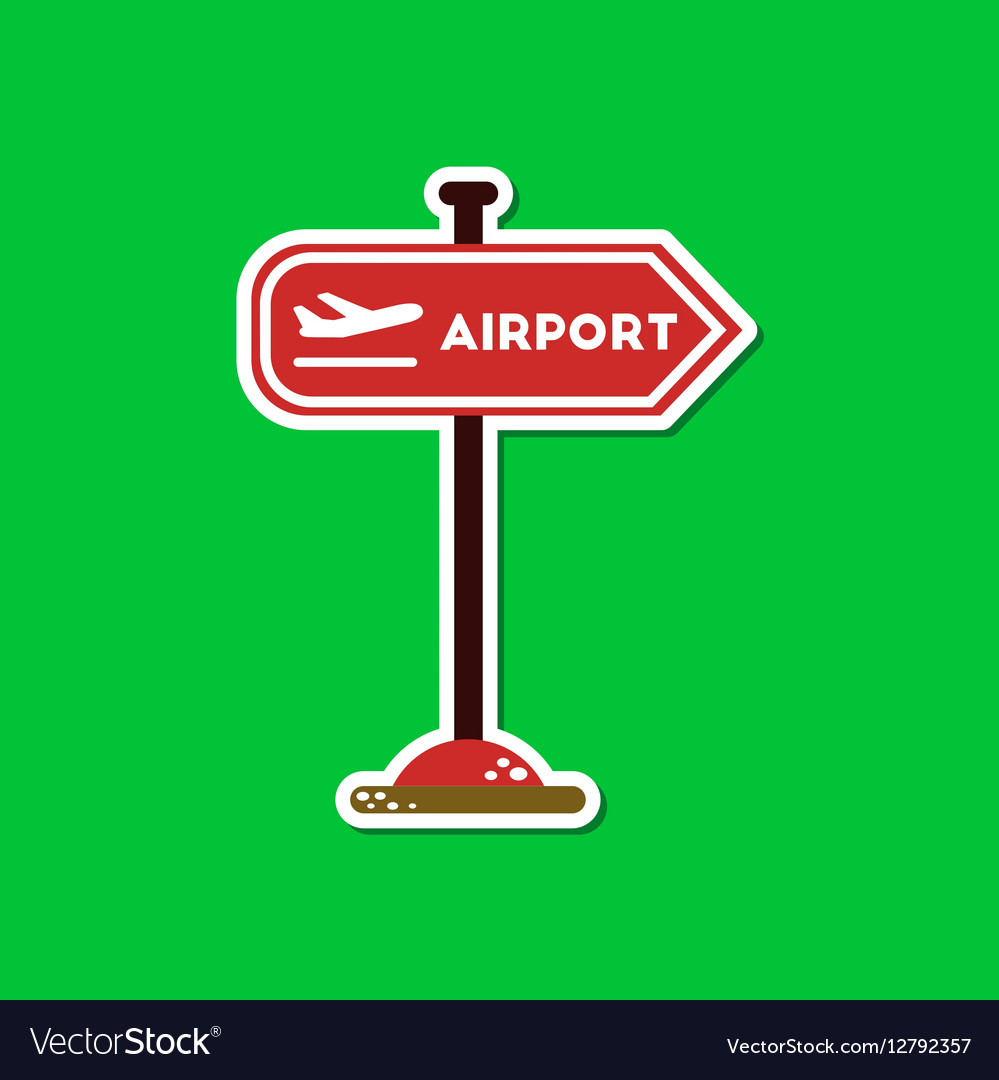 Paper sticker on stylish background airport sign vector image