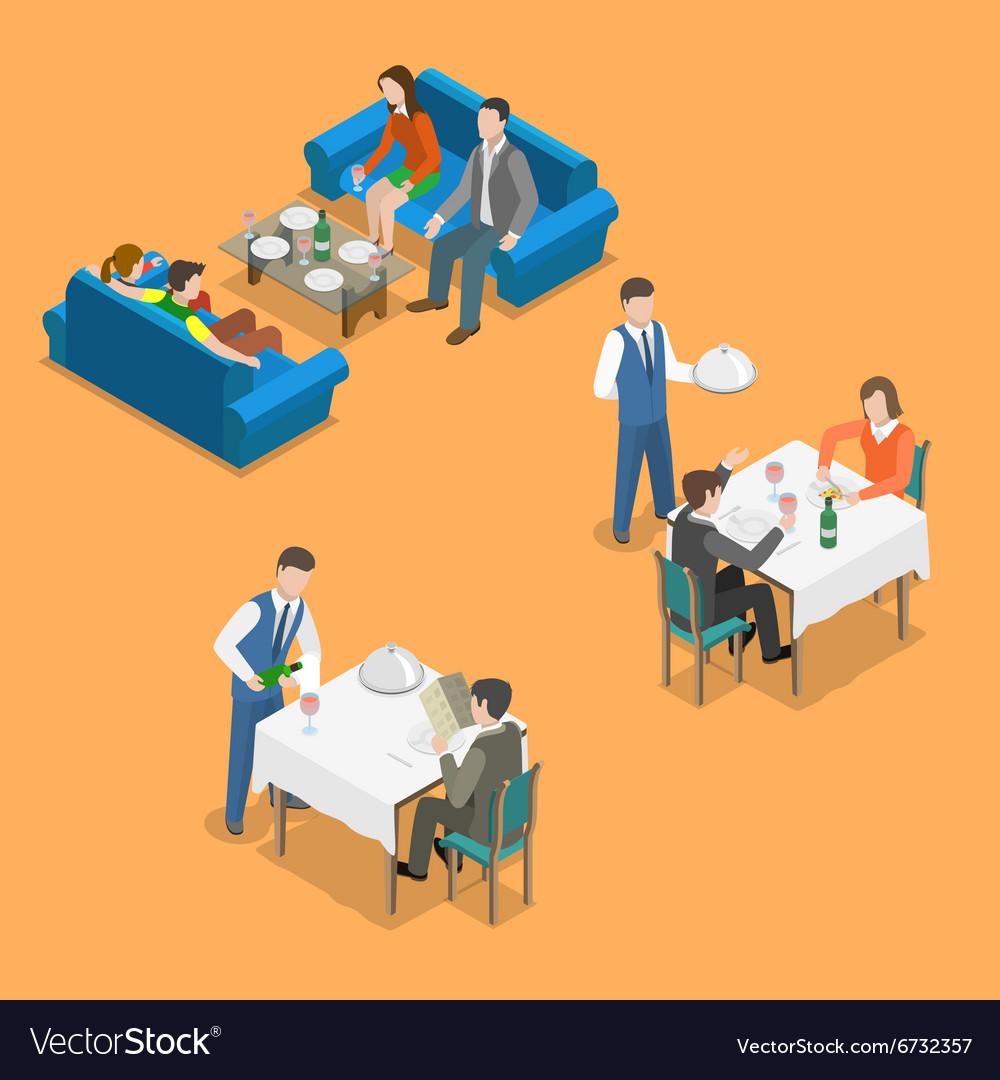 Restaurant service isometric flat concept