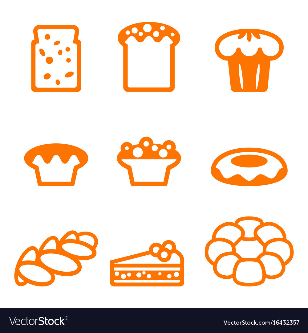 Set of icons depicting desserts realistic style