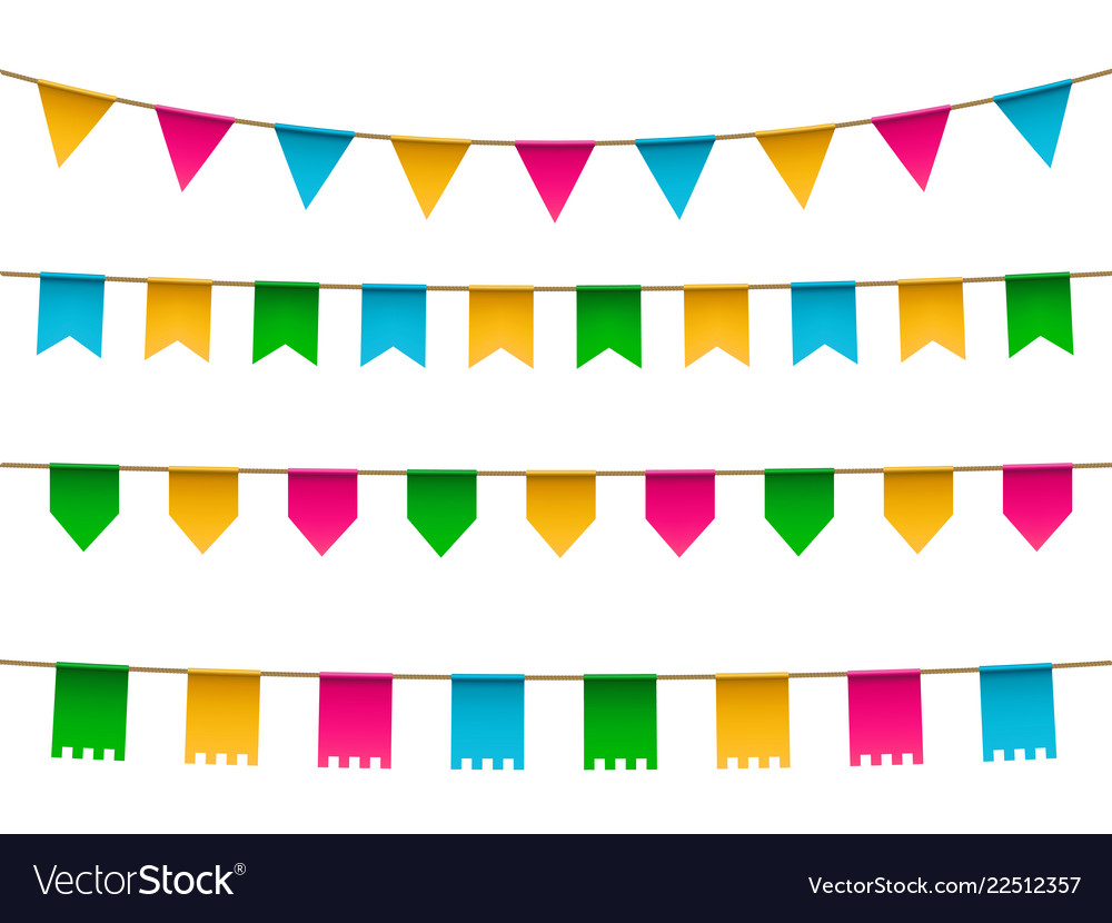 Set of realistic colorful flag bunting