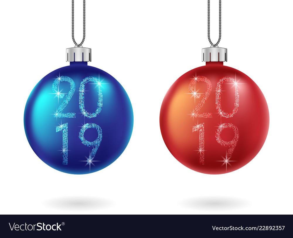 Set shiny christmas and blue ball isolated