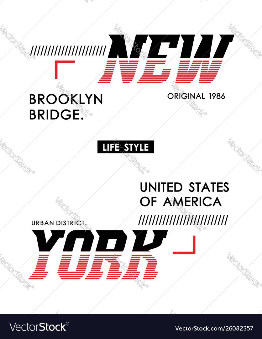 Typography design new york for t shirt print men