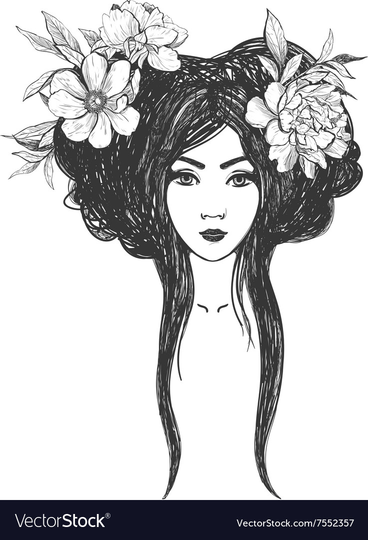 Woman with flowers Tattoo art coloring books