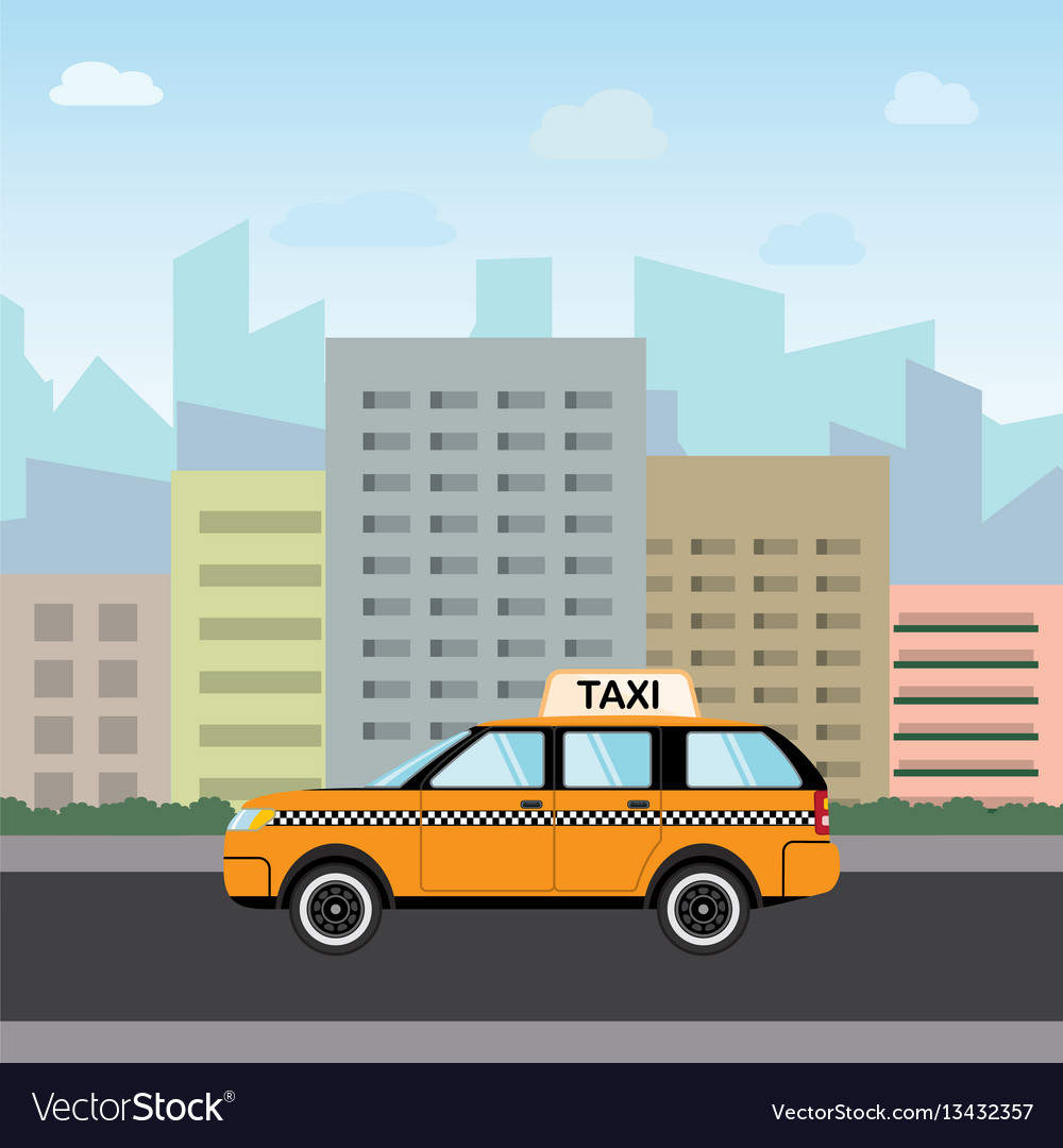 Yellow taxi car in front of city silhouette and