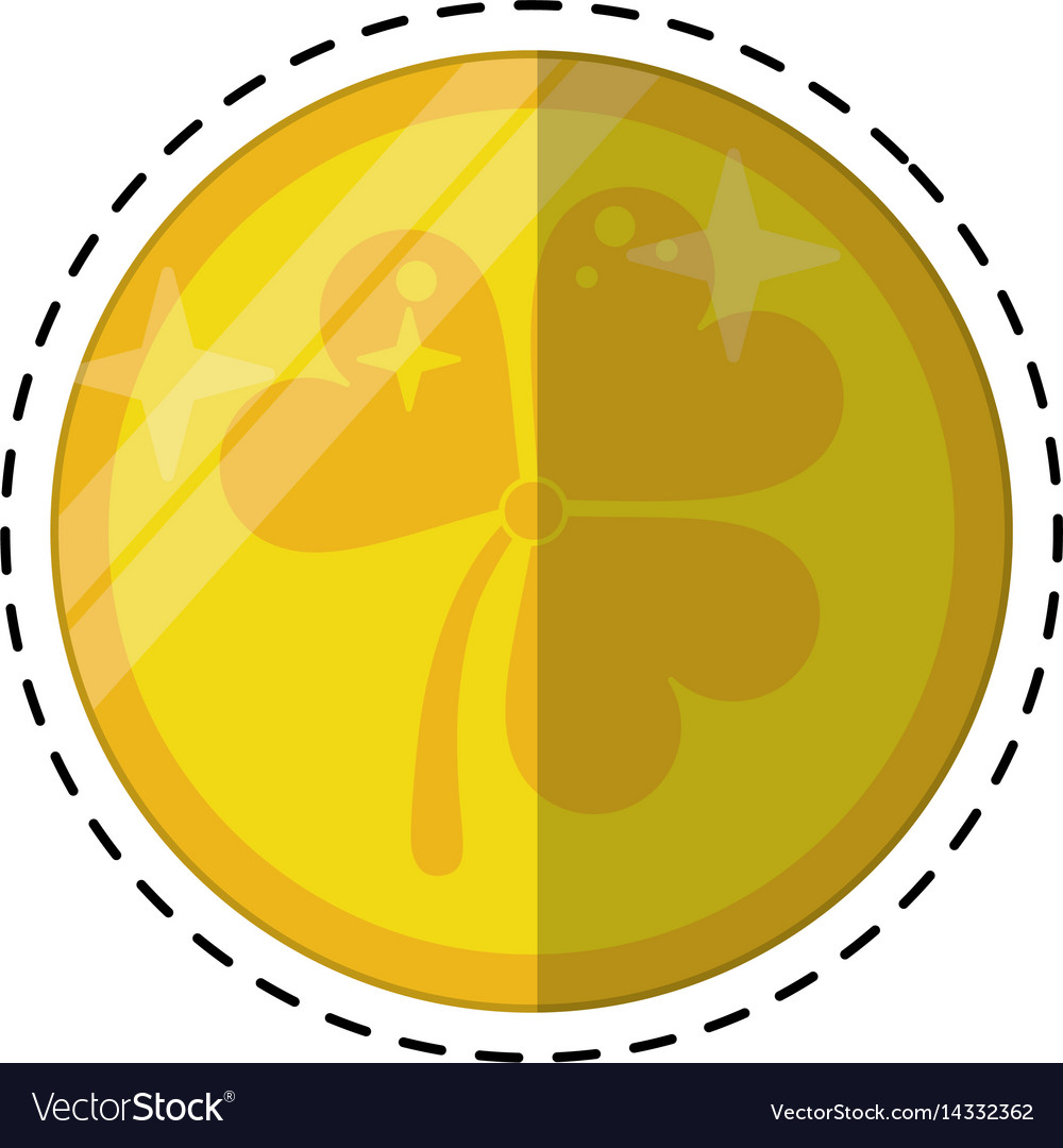 Cartoon St Patricks Day Gold Coin Clover Vector Image